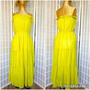 H&M sheer lime green maxi dress